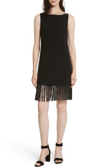 Women's Elizabeth And James Ekon Fringe Hem Dress, Size 0 - Black