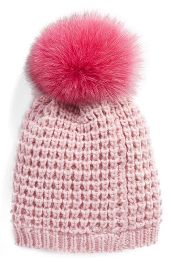 Women's Kyi Kyi Genuine Fox Pompom Hat - Pink