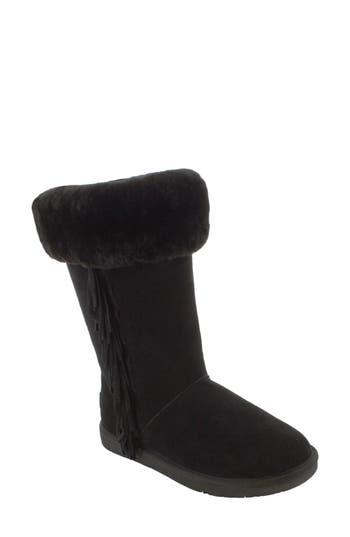Minnetonka Canyon Genuine Shearling Trim Boot, Black