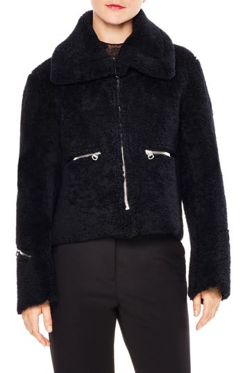 Sandro Genuine Lamb Shearling Jacket, Blue