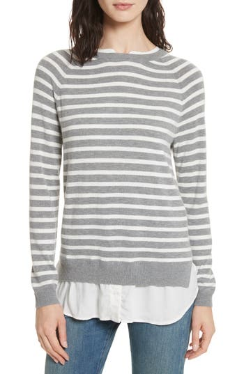 Women's Joie Zaan Hem Inset Stripe Sweater, Size X-Small - Grey