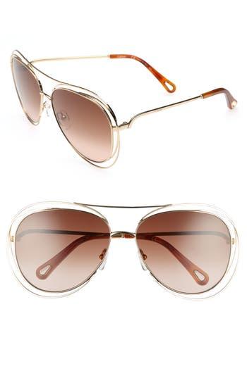 Women's Chloé 61Mm Aviator Sunglasses - Gold/ Havana