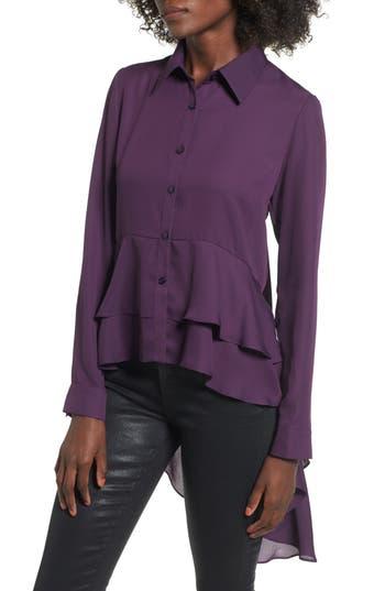 Women's Soprano Ruffle Hem Top, Size X-Small - Purple