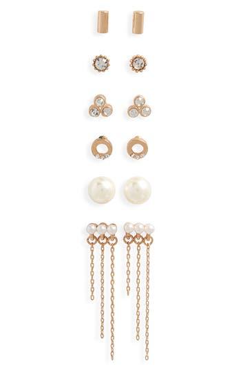 Women's Bp. 6-Pack Imitation Pearl & Crystal Earrings