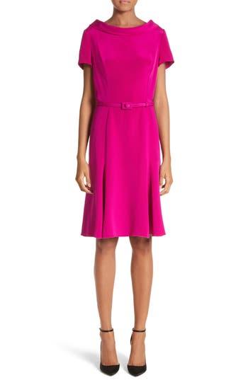 Women's Carolina Herrera Portrait Collar Silk Satin Dress