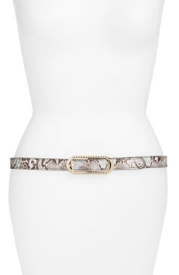 Women's Elise M. Lola Snake Embossed Faux Leather Skinny Belt