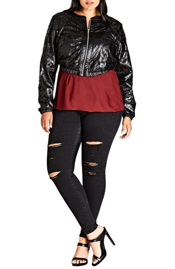 Plus Size Women's City Chic Lace Faux Leather Bomber Jacket, Size X-Small - Black