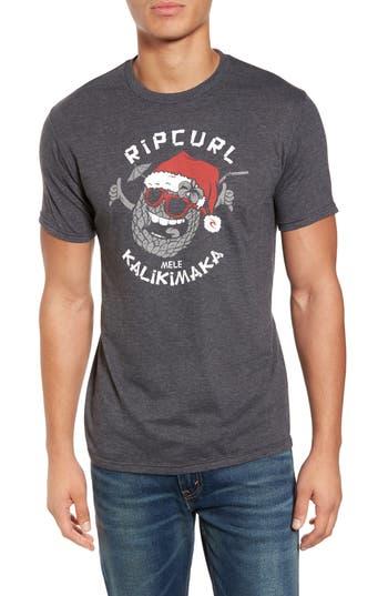 Men's Rip Curl Santa Pineapple Graphic T-Shirt, Size Small - Grey