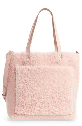 Madewell Medium Transport Genuine Shearling Tote - Pink