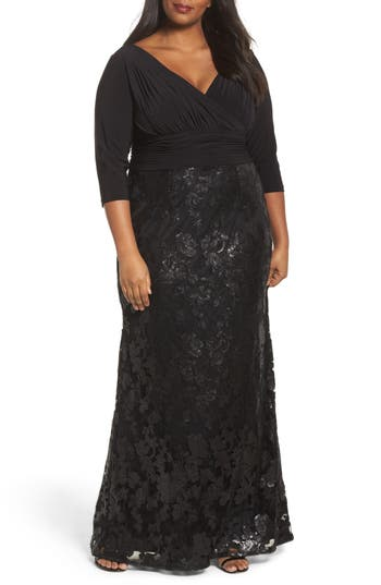 Plus Size Vintage Dresses, Plus Size Retro Dresses Plus Size Womens Adrianna Papell Jersey  Sequin Lace Gown $269.00 AT vintagedancer.com