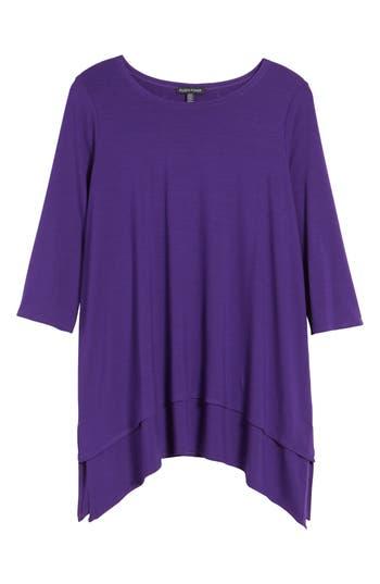 Women's Eileen Fisher Tiered Handkerchief Hem Tunic, Size XX-Small - Purple