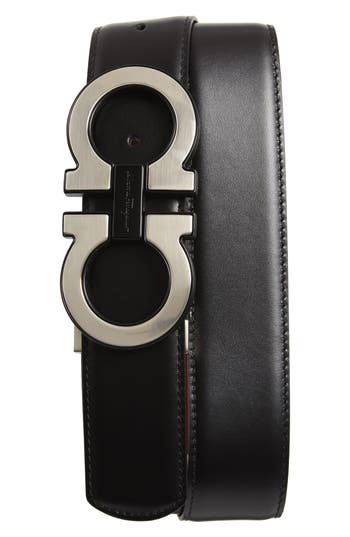 Men's Salvatore Ferragamo Oversize Double Gancini Leather Belt