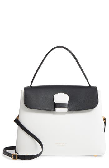 Medium Camberley Colorblock Leather & House Check Top Handle Satchel - White, White/ Black