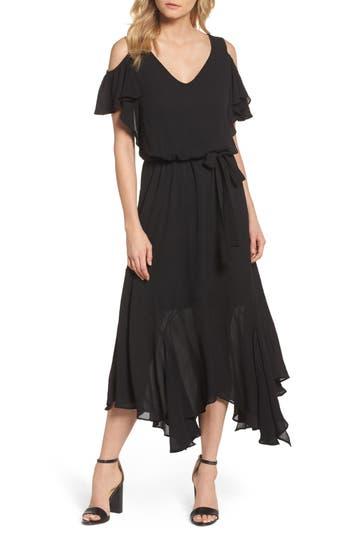 1920s Style Dresses, Flapper Dresses Petite Womens Maggy London Cold Shoulder Midi Dress Size 12P - Black $138.00 AT vintagedancer.com