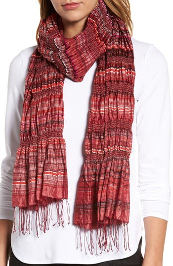 Women's Eileen Fisher Puckered Silk Blend Scarf