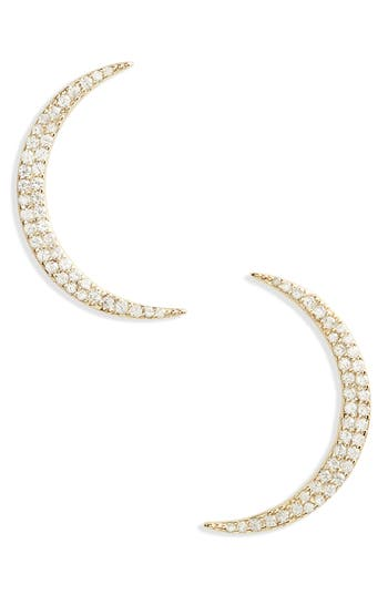 Shashi PAVE CRESCENT EARRINGS