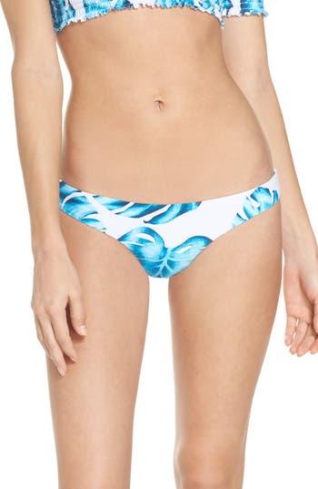 Pilyq Ruched Teeny Bikini Bottoms, Blue