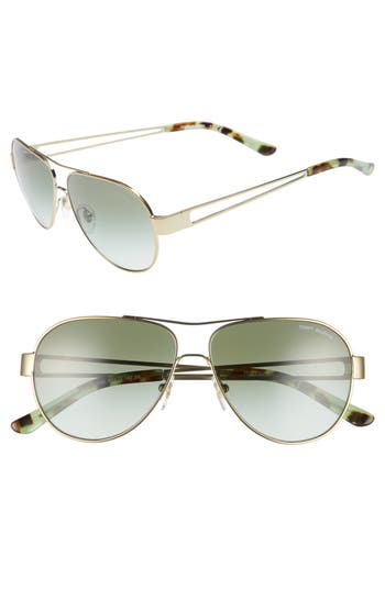 6272cf095b Tory Burch 55Mm Polarized Aviator Sunglasses - Gold  Green In Black ...