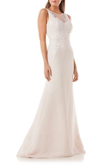 Carmen Marc Valvo Infusion Lace Applique Mermaid Gown, Beige