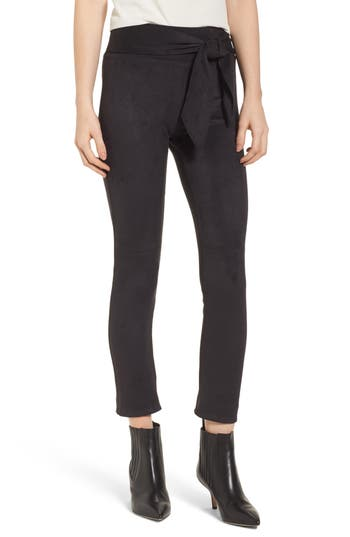 David Lerner Waist Tie Skimmer Leggings, Black