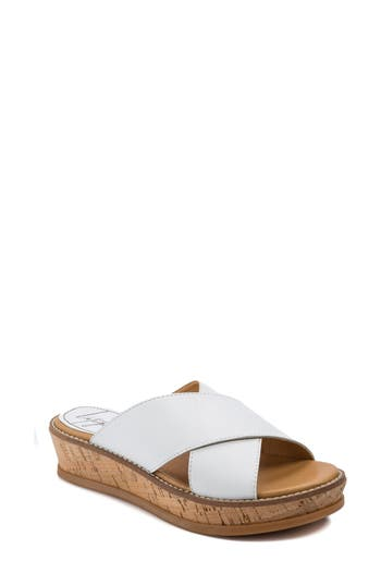 Latigo Kayda Cross Strap Platform Sandal- White