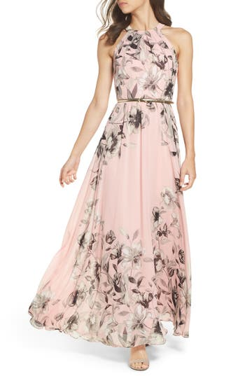 Eliza J Belted Chiffon Maxi Dress, Pink