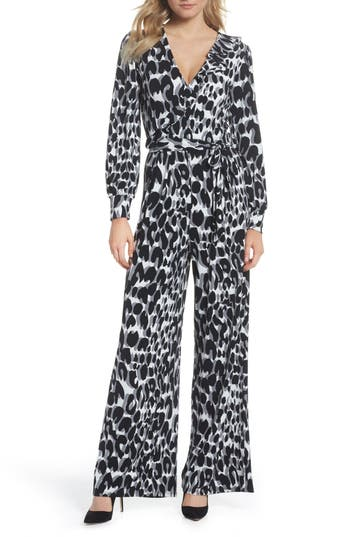 Vintage Overalls 1910s -1950s Pictures and History Womens Leota Julie Print Ruffle Jumpsuit $94.80 AT vintagedancer.com