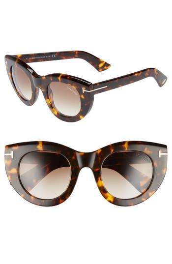 Tom Ford Marcella 4m Cat Eye Sunglasses - Havana/ Brown/ Green