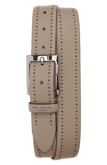 Ted Baker London Havan Brogue Leather Belt, Grey