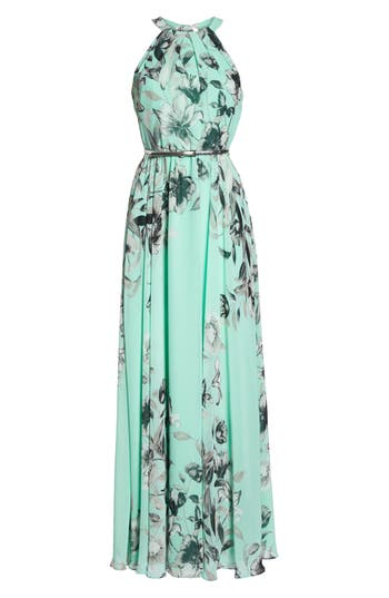Eliza J Belted Chiffon Maxi Dress, Green