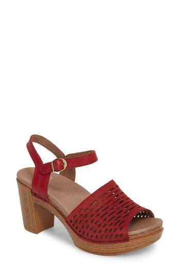 60s Shoes, Boots | 70s Shoes, Platforms, Boots Womens Dansko Denita Block Heel Sandal Size 11.5-12US  42EU M - Red $149.95 AT vintagedancer.com