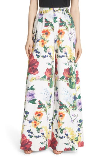Alice + Olivia Dustin Floral Flared Pants, White