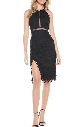 Bardot Tabytha Lace Halter Dress, Black