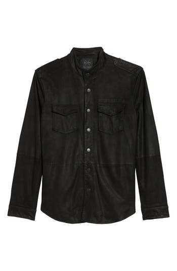 John Varvatos X Nick Jonas Suede Shirt Jacket Black
