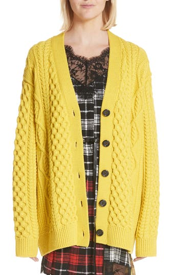 Marc Jacobs Oversize Cable Knit Merino Wool Cardigan, Yellow