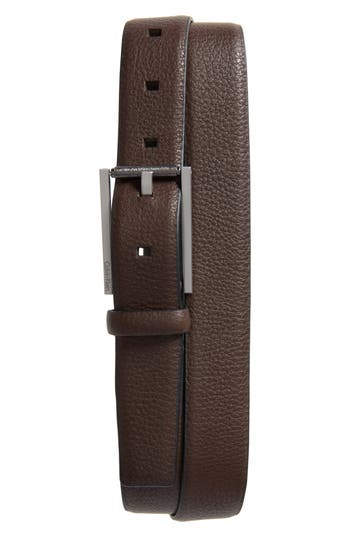 Calvin Klein Pebbled Leather Belt, Dark Chocolate