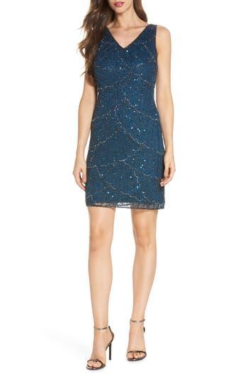 Pisarro Nights Beaded Sheath Dress, Blue