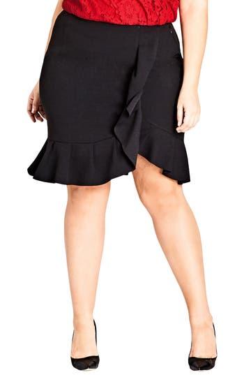 Plus Size City Chic Ruffle Faux Wrap Skirt