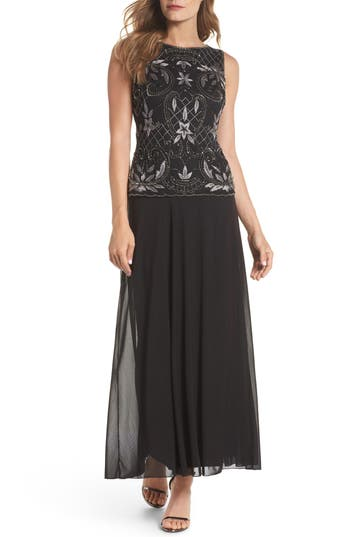 Pisarro Nights Embellished Mock Two-Piece Gown, Black