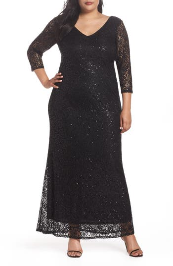 60s 70s Plus Size Dresses, Clothing, Costumes Plus Size Womens Marina Sequin Lace A-Line Gown Size 20W - Black $189.00 AT vintagedancer.com