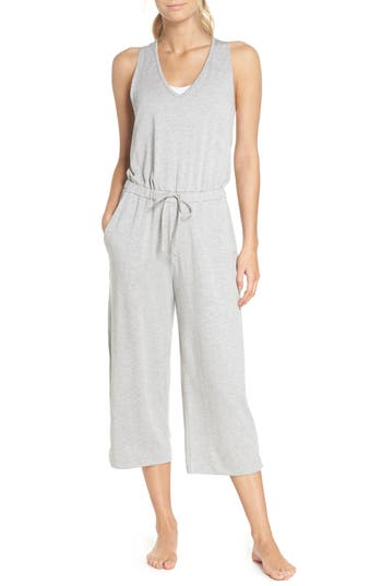 5f0af086cf41 Beyond Yoga Farrah Scoop-Neck Sleeveless Wide-Leg Cropped Jumpsuit In Light  Heather Gray