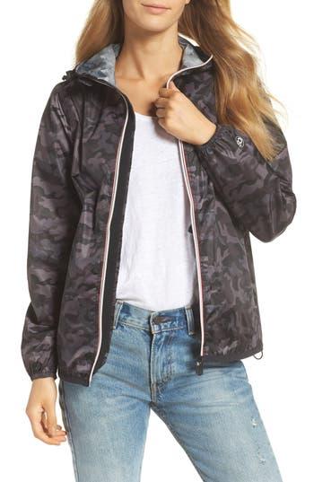 O8 Lifestyle Print Packable Rain Jacket, Black