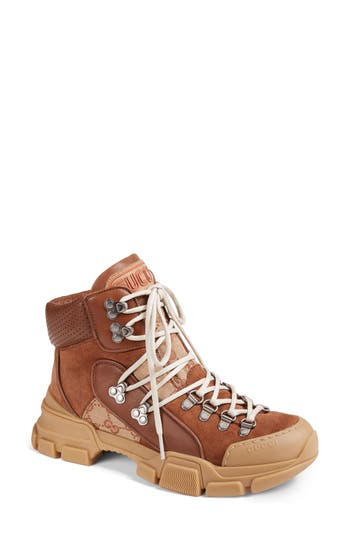 Gucci Journey Lace-Up Boot, Brown