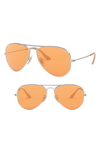 Ray-Ban Evolve 55Mm Photochromic Aviator Sunglasses - Orange
