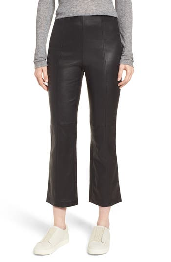 Nordstrom Signature Crop Flare Stretch Leather Pants, Black