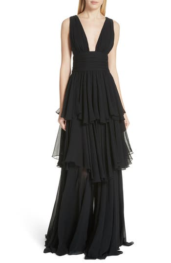 Caroline Constas Paros Tiered Silk Gown, Black