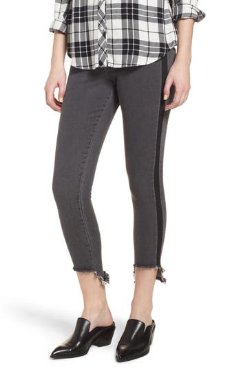 Zeza B By Hue High/low Tuxedo Denim Leggings, Black