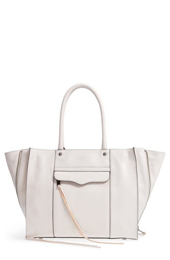 Rebecca Minkoff MAB Leather Tote in Putty White