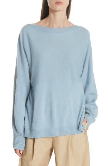 Vince Layered Back Wool Cashmere Boatneck Sweater, Blue