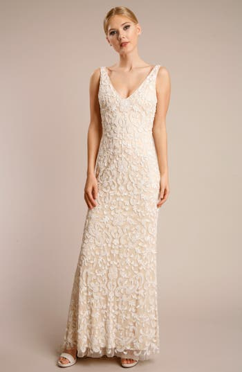 Vintage Inspired Wedding Dress | Vintage Style Wedding Dresses Womens Lotus Threads Beaded Lace Gown Size 14 - Beige $1,020.00 AT vintagedancer.com